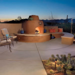 Colored concrete patio with beehive fireplace | 2006 ALCA Judges Award