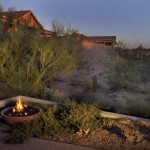 Fire Bowl at edge of patio in raised planter | 2004 ALCA Judges Award