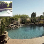 Renovated pool with new colored stamped concrete deck and faux stone waterfall | 2007 APLD Gold Award