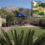 New outdoor living area with privacy wall, colored concrete patio and lawn | 2008 ALCA Judges Award