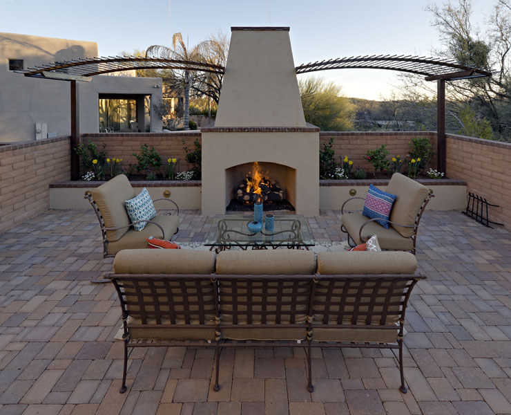 patios with fireplaces. Outdoor Fire Features for Tucson  Arizona AZ Sonoran Gardens Inc