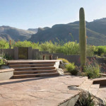 Seatwalls and retaining walls used to create multi level flagstone patio | 2004 ALCA Award of Excellence
