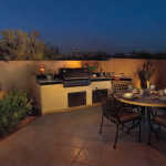 Outdoor Dining area with BBQ counter and tile patio