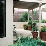 Flagstone patio and terraced hill
