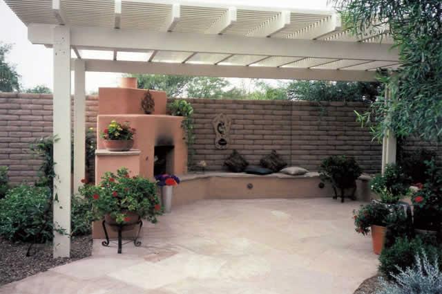 Allumawood Shade Ramada Over Flagstone Patio With Fireplace | 2002 ALCA  Judges Award