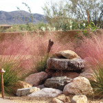 Natural rock water feature surrounded by Regal Mist grass
