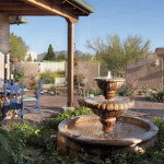 New outdoor living area with Mexican fountain and brick paving | 2005 ALCA Judges Award | 2008 APLD Merit Award