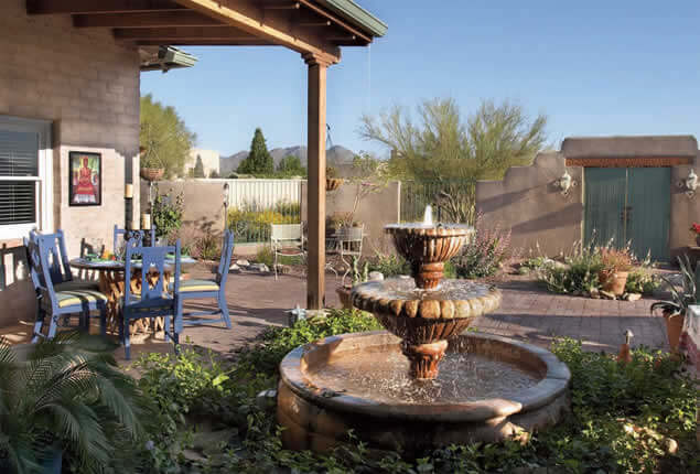 New Outdoor Living Area With Mexican Fountain And Brick Paving | 2005 ALCA  Judges Award |