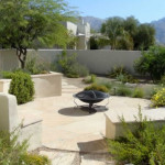 Water efficient plantings in raised planter and around flagstone patio | 2008 ALCA Award of Excellence
